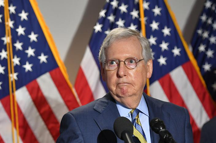 Senate Minority Leader Mitch McConnell, R-Ky., speaks to the media after a Republican policy luncheon at the Capitol in Washington, June 9, 2020.