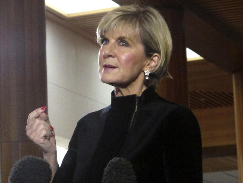 Australian Foreign Minister Julie Bishop addresses reporters at the Parliament House in Canberra, Australia, Tuesday, Aug. 15, 2017. Bishop said Australia's opposition Labor Party used their New Zealand counterparts to raise questions about the Australian Deputy Prime Minister Barnaby Joyce in the New Zealand parliament. Political feud erupts between New Zealand and Australia over apparent dual citizenship of Australia's deputy prime minister. (AP Photos/Rod McGuirk)
