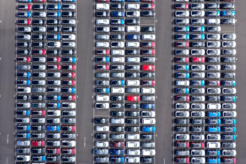 GRIMSBY, ENGLAND - MAY 05: Imported vehicles sit at the docks near Immingham on May 05, 2020 in Grimsby, England. During the coronavirus (Covid-19) lockdown new car sales have dropped 97%, reportedly the lowest since the end of World War II (Photo by Christopher Furlong/Getty Images)