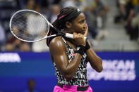 Coco Gauff, of the United States, reacts to missing a shot against Sloane Stephens, of the United States, during the second round of the US Open tennis championships, Wednesday, Sept. 1, 2021, in New York. (AP Photo/John Minchillo)
