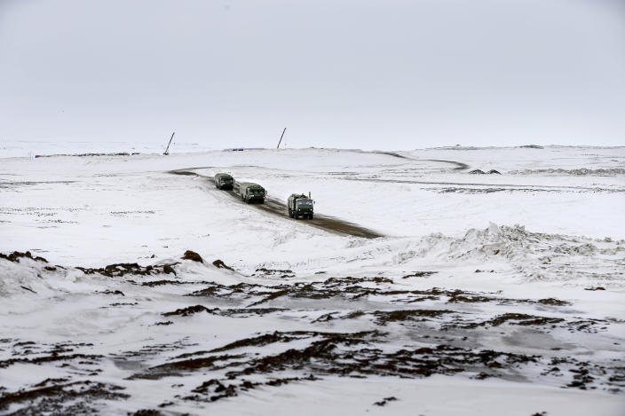 The Bastion anti-ship missile systems roll from positions on the Alexandra Land island near Nagurskoye, Russia, Monday, May 17, 2021. Once a desolate home mostly to polar bears, Russia's northernmost military outpost is bristling with missiles and radar and its extended runway can handle all types of aircraft, including nuclear-capable strategic bombers, projecting Moscow's power and influence across the Arctic amid intensifying international competition for the region's vast resources. (AP Photo/Alexander Zemlianichenko)