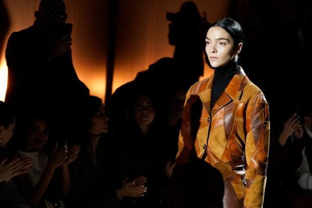 A model on the the runway at the Tod's Fall 2020 show.