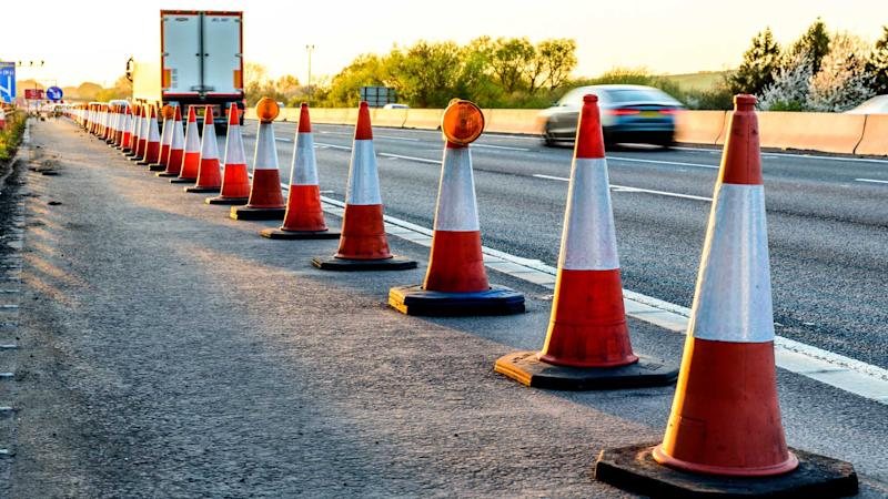 UK motorway services roadworks cones