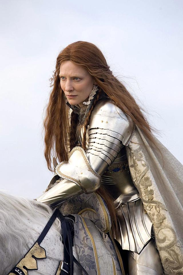 "<a href=""http://movies.yahoo.com/movie/1809426394/info"">Elizabeth: The Golden Age</a>  In 1585, when the movie takes place, Queen Elizabeth was 52 years old - <a href=""http://movies.yahoo.com/movie/contributor/1800018917"">Cate Blanchett</a> was 36 when she shot the film - and was not being courted by suitors like Ivan the Terrible (who was dead by then). And though the movie has her rallying the troops at Tilbury astride a white steed in full armor with a sword, in fact she rode side saddle, carrying a baton. She was more of a regal majorette than Joan of Arc."