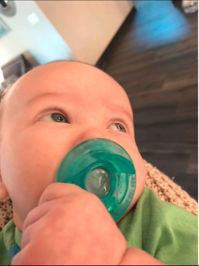 Emelia took her son's Philips Avent Soothie, which costs just $12 at Chemist Warehouse, and put it in the freezer for a while, before taking it out and giving it to her baby. Photo: Emelia Jackson