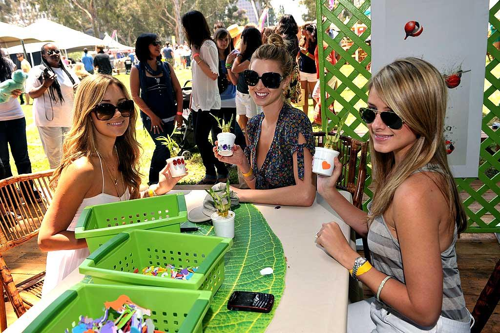 "Lauren Conrad, Whitney Port, and ""Lo"" Bosworth decorate bamboo planters at the 19th Annual Elizabeth Glaser Pediatric AIDS Foundation's ""A Time For Heroes"" Celebrity Carnival. Lester Cohen/<a href=""http://www.wireimage.com"" target=""new"">WireImage.com</a> - June 8, 2008"
