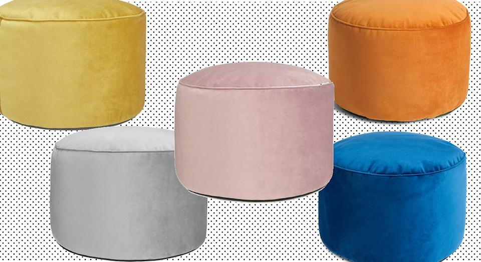 The pouffe comes in six stylish colours including blue, pink, orange and grey. (John Lewis & Partners)