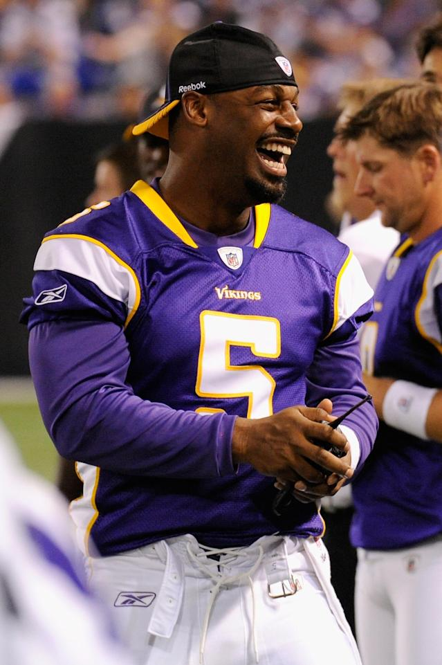 MINNEAPOLIS, MN - SEPTEMBER 1: Donovan McNabb #5 of the Minnesota Vikings smiles from the sidelines during the first half against the Houston Texans on September 1, 2011 at Hubert H. Humphrey Metrodome in Minneapolis, Minnesota. (Photo by Hannah Foslien/Getty Images)
