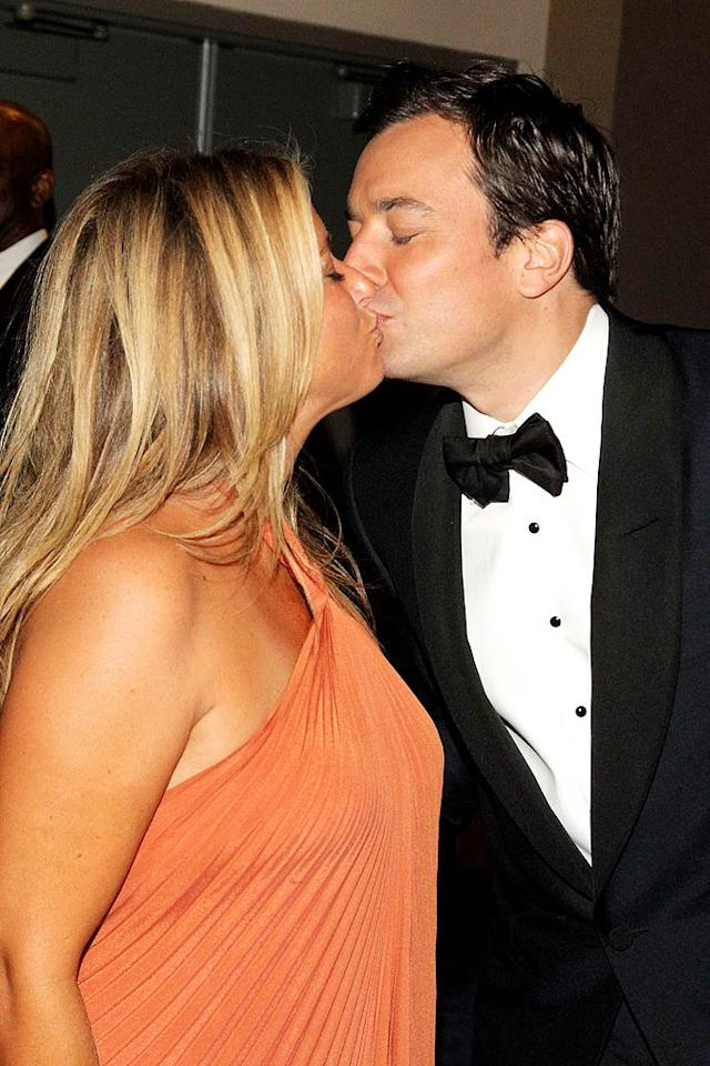 """After hosting the three-hour awards ceremony, Jimmy Fallon definitely deserved a kiss from his lovely wife Nancy Juvonen. Mathew Imaging/<a href=""""http://www.wireimage.com"""" target=""""new"""">WireImage.com</a> - August 29, 2010"""