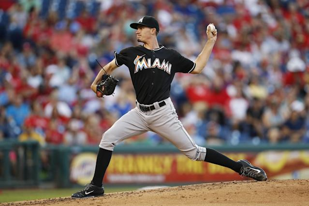 Miami Marlins' Andrew Heaney pitches during the second inning of a baseball game against the Philadelphia Phillies, Tuesday, June 24, 2014, in Philadelphia. (AP Photo/Matt Slocum)