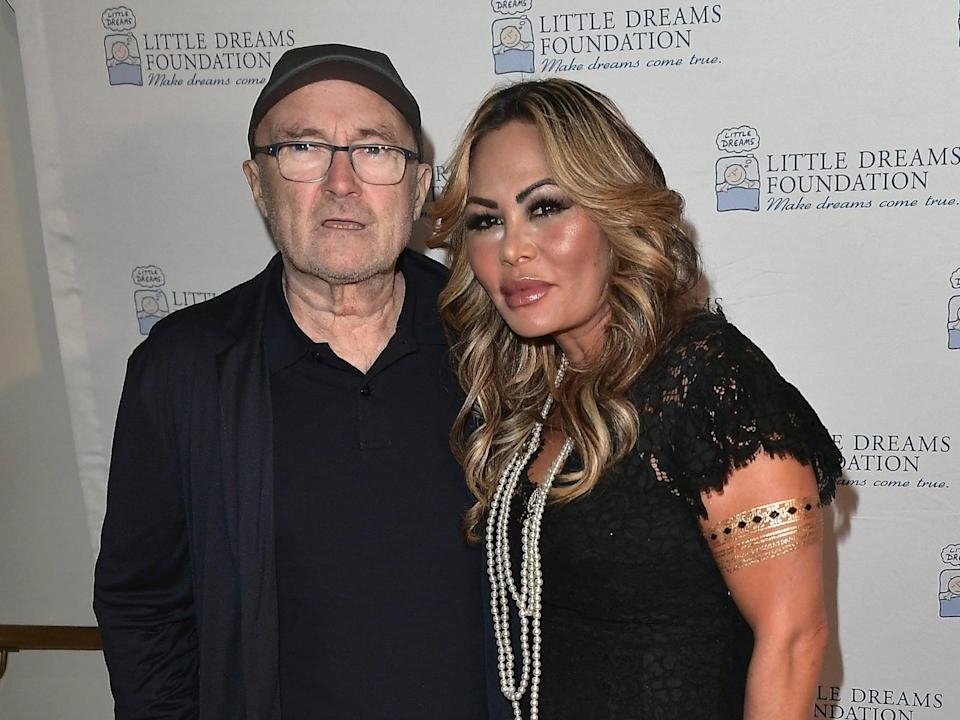 Phil Collins and Orianne Cevey at the Little Dreams Foundation Gala press conference on 18 October 2017 in Miami Beach, Florida (Gustavo Caballero/Getty Images)