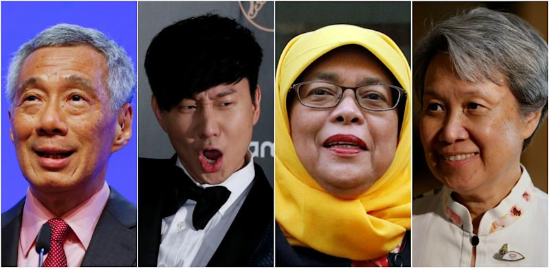 Prime Minister Lee Hsien Loong, pop singer JJ Lin, President Halimah Yacob and Ho Ching, wife of PM Lee. (Reuters file photos)