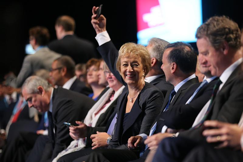 (centre) Andrea Leadsom sits with cabinet ministers ahead of the Prime Minister Boris Johnson's speech on the final day of the Conservative Party Conference being held at the Manchester Convention Centre. Picture dated: Wednesday October 2, 2019. Photo credit should read: Isabel Infantes/ EMPICS Entertainment.