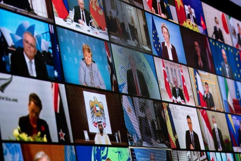 World leaders who participated in a virtual global summit to address climate change are pictured on April 22, 2021