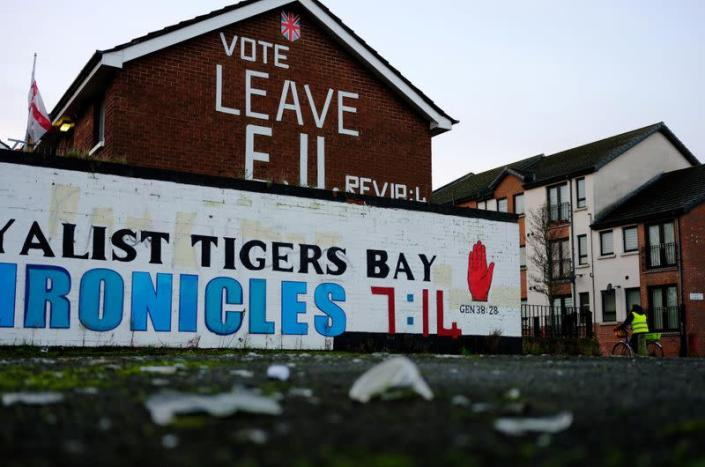 Brexit slogan is seen on the side of a house in Belfast