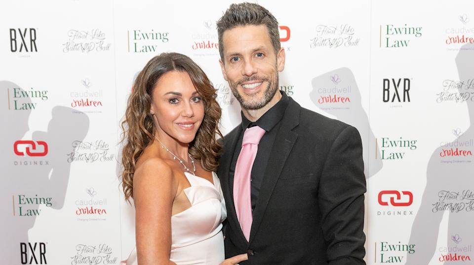 Michelle Heaton and husband Hugh Hanley in November 2019 when the singer was hiding her addiction. (Getty Images)
