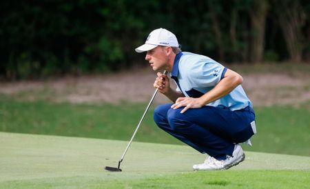 May 23, 2019; Fort Worth, TX, USA; Jordan Spieth lines up a putt on the 11th green during the first round the Charles Schwab Challenge golf tournament at Colonial Country Club. Mandatory Credit: Ray Carlin-USA TODAY Sports