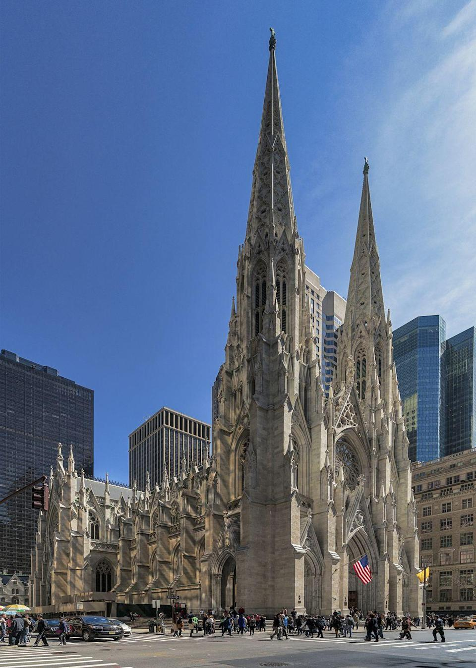 """<p>This iconic New York landmark receives approximately five million visitors a year. The cathedral was built in the latter half of the 19th century to symbolize the rise of religious freedom and tolerance in America.</p><p>Though criticized for building St. Patrick's Cathedral too far outside the city during this time (though it is now on some pretty prime real estate), Archbishop John Hughes believed in his vision of building the most beautiful Gothic cathedral in the New World, which would one day be """"the heart of the city."""" Construction continued throughout the Civil War and was completed in 1878, fulfilling Hughes' dream. </p>"""
