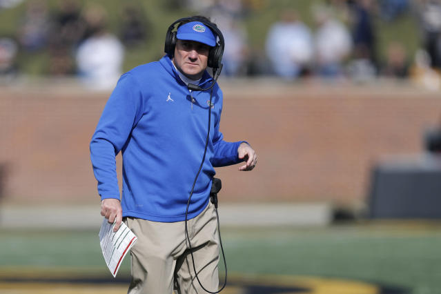 Florida head coach Dan Mullen watches from the sidelines during the first half of an NCAA college football game against Missouri, Saturday, Nov. 16, 2019, in Columbia, Mo. (AP Photo/Jeff Roberson)