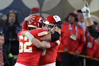 MIAMI, FLORIDA - FEBRUARY 02: Patrick Mahomes #15 of the Kansas City Chiefs celebrates after defeating the San Francisco 49ers in Super Bowl LIV at Hard Rock Stadium on February 02, 2020 in Miami, Florida. (Photo by Al Bello/Getty Images)