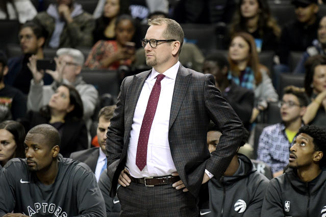 Nurse looks on, as coach of the Toronto Raptors. (Credit: Getty Images)