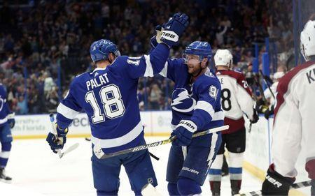 Dec 8, 2018; Tampa, FL, USA; Tampa Bay Lightning center Steven Stamkos (91) is congratulated by left wing Ondrej Palat (18) as he scores a goal against the Colorado Avalanche during the first period at Amalie Arena. Kim Klement-USA TODAY Sports - 11812906