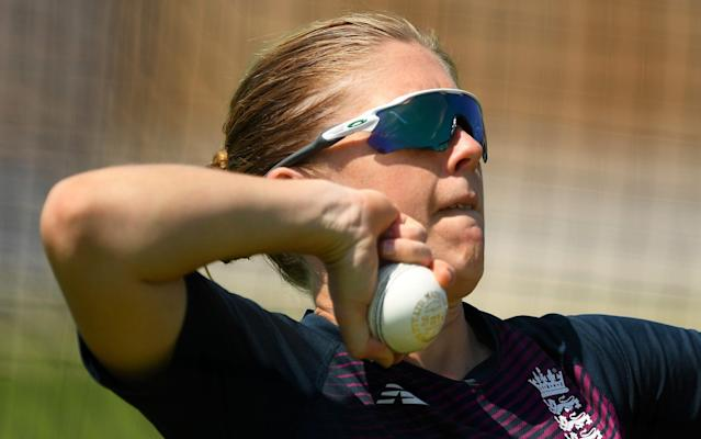 England Women's Cricket Captain Heather Knight prepares to bowls as she takes part in an individual training session at the County Ground - Getty Images