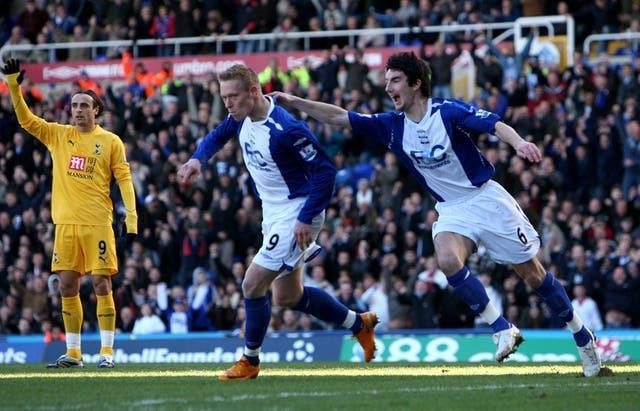 A week after lifting the Carabao Cup in 2008, Tottenham were thrashed 4-1 at Birmingham, with Mikael Forssell, centre, claiming a hat-trick