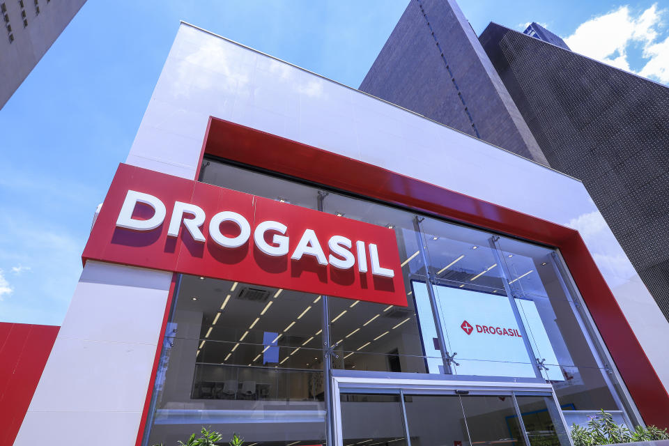Sao Paulo, Brazil - Nov 03 2019: facade with lettering and logo of Drogasil drugstore on Paulista Avenue. Company listed on B3, the Stock Exchange in Brazil