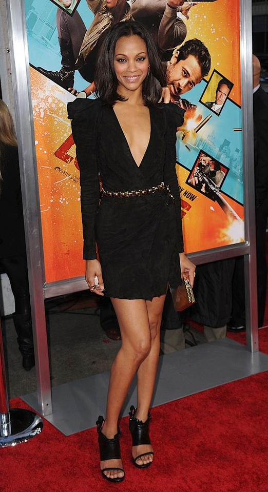 "<a href=""http://movies.yahoo.com/movie/contributor/1800362233"">Zoe Saldana</a> at the Los Angeles premiere of <a href=""http://movies.yahoo.com/movie/1810096356/info"">The Losers</a> - 04/20/2010"