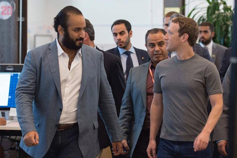 Social networker: Crown Prince Mohammed bin Salman with Mark Zuckerberg at Facebook's HQ