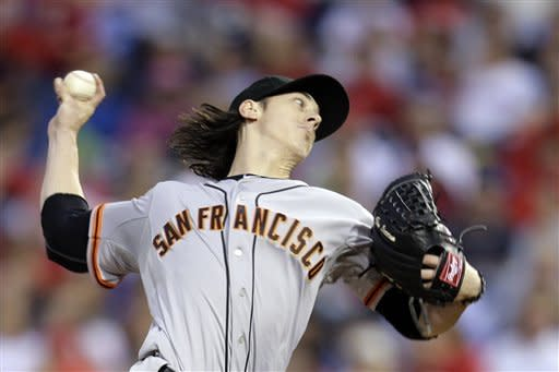 San Francisco Giants' Tim Lincecum pitches in the second inning of a baseball game against the Philadelphia Phillies, Friday, July 20, 2012, in Philadelphia. (AP Photo/Brynn Anderson)