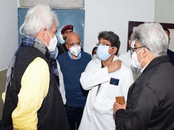 Jammu and Kashmir LG Manoj Sinha met injured police personnel in Nagrota encounter on Thursday. [Photo/ANI]