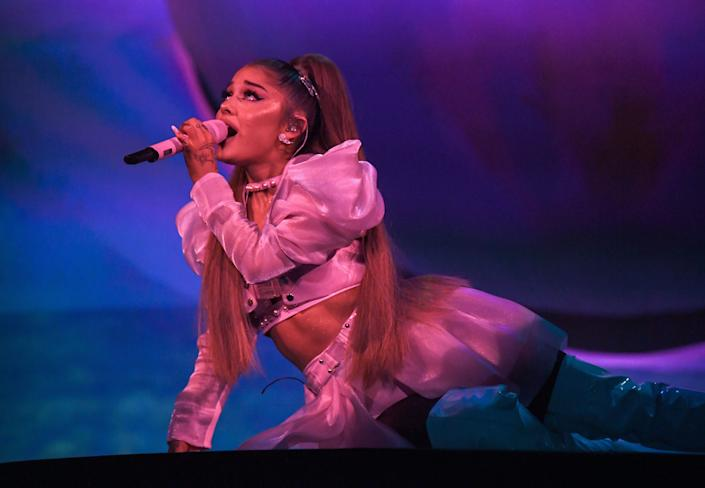 """Ariana Grande performs during her """"Sweetener World Tour"""" at The O2 Arena on Aug. 17 in London. (Photo: Kevin Mazur via Getty Images)"""