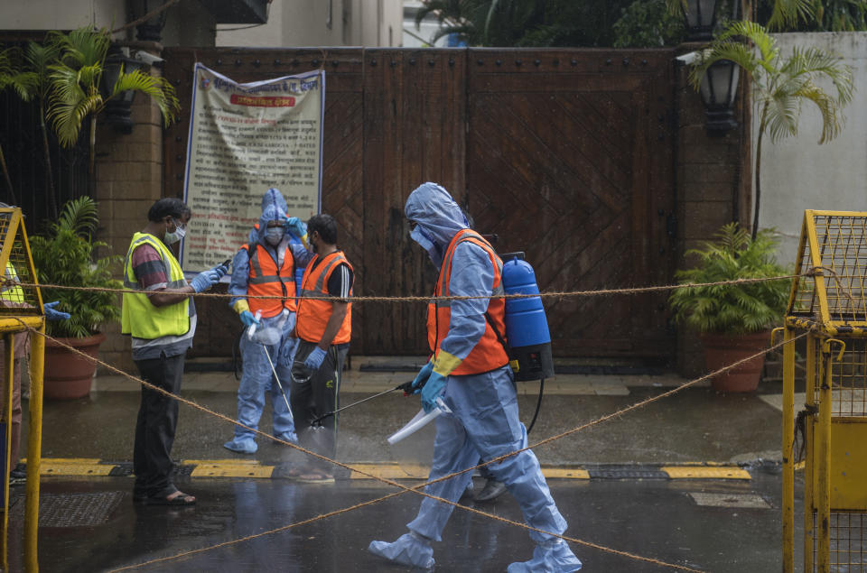 BMC authorities seal and sanitise Amitabh Bachchan's bungalow Jalsa as Bollywood actors Amitabh Bachchan, Abhishek, Aishwarya Rai, and their daughter Aaradhya test postive for COVID-19, on July 12, 2020 in Mumbai, India. (Photo by Satish Bate/Hindustan Times via Getty Images)