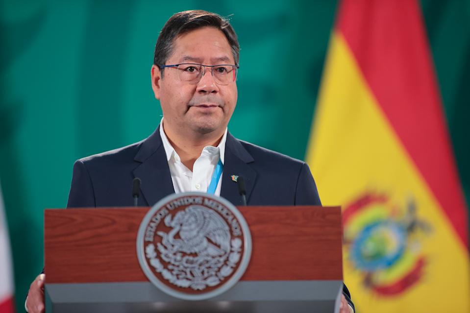 MEXICO CITY, MEXICO - MARCH 24:  President of Bolivia Luis Arce speaks during a morning briefing at Presidential Palace as part of the official visit of the Bolivian ruler to Mexico on March 24, 2021 in Mexico City, Mexico. (Photo by Hector Vivas/Getty Images)