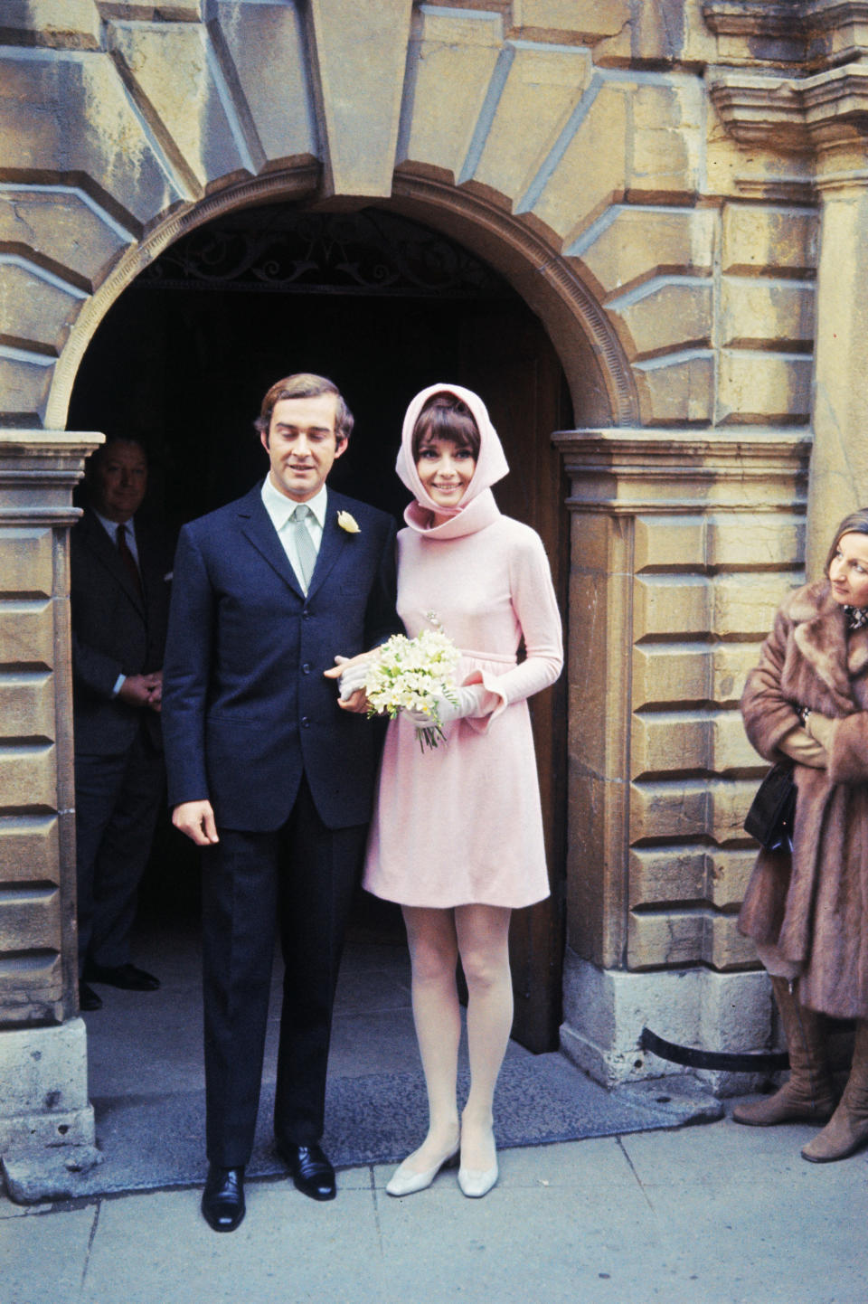 Audrey Hepburn and Dr. Andrea Dotti after their wedding in 1969. [Photo: Getty]