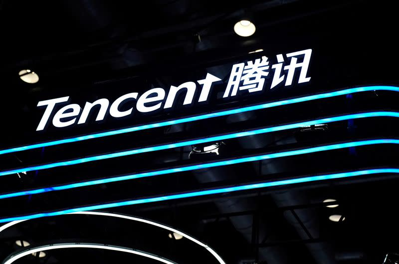 FILE PHOTO: A Tencent logo is seen at its booth at the 2020 China International Fair for Trade in Services (CIFTIS) in Beijing