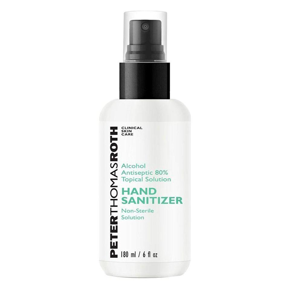 """<p><strong>Peter Thomas Roth</strong></p><p>ulta.com</p><p><strong>$16.00</strong></p><p><a href=""""https://go.redirectingat.com?id=74968X1596630&url=https%3A%2F%2Fwww.ulta.com%2Fhand-sanitizer-alcohol-antiseptic-80-topical-solution%3FproductId%3Dpimprod2016175&sref=https%3A%2F%2Fwww.menshealth.com%2Fhealth%2Fg33415441%2Fbest-hand-sanitizers%2F"""" rel=""""nofollow noopener"""" target=""""_blank"""" data-ylk=""""slk:BUY IT HERE"""" class=""""link rapid-noclick-resp"""">BUY IT HERE</a></p><p>Skincare brand Peter Thomas Roth has turned to making hand sanitizer. Their simple formula contains no fragrance and is made with 80 percent alcohol. </p>"""