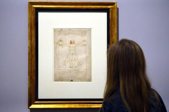 The Vitruvian Man drawing will travel to the exhibition despite fears over its fragility (AFP Photo/Gabriel BOUYS)