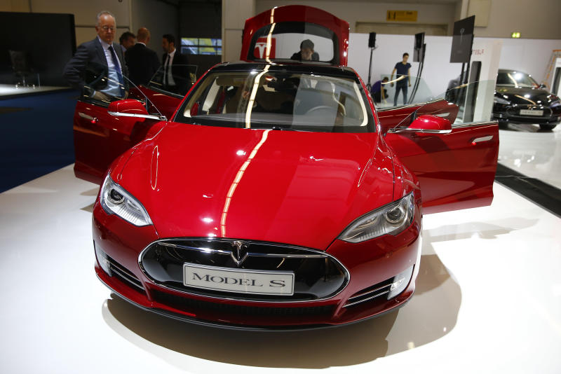 A Tesla model S is displayed at Frankfurt Motor Show
