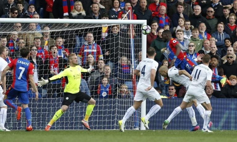 Crystal Palace's Christian Benteke scores their second goal against Leicester City at Selhurst Park in south London on April 15, 2017
