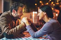 """<p>When he's sitting across from you at dinner, he's not on his phone or glancing elsewhere. He's looking you right in the eyes, attentively listening to everything you have to say. According to <a href=""""https://blogs.scientificamerican.com/guest-blog/learning-the-look-of-love-that-sly-come-hither-stare/"""" rel=""""nofollow noopener"""" target=""""_blank"""" data-ylk=""""slk:research"""" class=""""link rapid-noclick-resp"""">research</a> by psychologist Zick Rubin, couples who are deeply <a href=""""https://www.womansday.com/relationships/dating-marriage/a22774536/signs-of-loveless-unhappy-marriage/"""" rel=""""nofollow noopener"""" target=""""_blank"""" data-ylk=""""slk:in love"""" class=""""link rapid-noclick-resp"""">in love</a> with each other look at each other 75 percent of the time, while regular people conversing only look at one another 30-60 percent of the time. In other words, strong eye contact shows that he's truly interested in everything you have to say.<br></p>"""