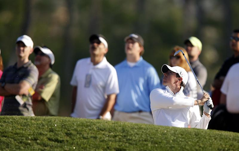Rory Mcllroy, of Northern Ireland, hits out of a bunker on the 13th hole during the second round of the Houston Open golf tournament, Friday, March 29, 2013 in Humble, Texas. (AP Photo/Jon Eilts)