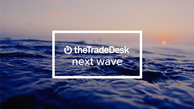The Trade Desk logo and marketing saying, The Next Wave.