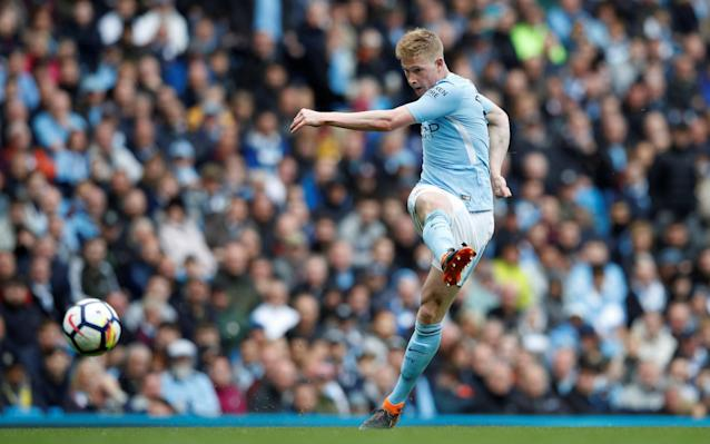 "5:54PM Substitutions for each side De Bruyne given a standing ovation as he is replaced by Yaya Toure. Sam Clucas and Kyle Bartley replace Ki Sung-yueng and Federico Fernandez. 5:51PM GOOOOALL!! 4-0 to City. Gabriel Jesus nonchalantly wanders up to the spot, Fabianksi guesses right and saves the spot kick, pushing onto the post! But he's so so unlucky, with the rebounding coming out across goal and straight into the path of Bernardo Silva, who's first to react. Man City 4 - 0 Swansea (Bernardo Silva, 64 min) 5:49PM PENALTY MAN CITY! Silva slips Sterling in, he toes the ball past Fernandez and draws the foul. Craig Pawson points to the spot. Jesus to take. 5:45PM Player of the season? He gets my vote. 5 - Kevin De Bruyne has now scored five goals from outside the box in the Premier League this season; the most of any player. Smash. pic.twitter.com/17kNulRJFe— OptaJoe (@OptaJoe) April 22, 2018 5:44PM 57 mins Swansea win a corner and Ki's corner is met by Mawson, unchallenged, in the six-yard box... but he heads over the bar. A rare Swansea chance, and a wasted one. Miss: Man City 3 - 0 Swansea (Alfie Mawson, 56 min) 5:42PM WHAT A GOAL!!!! De Bruyne makes it 3-0! What a stunning strike that is! City pass, pass, pass, taking their time, but then Swansea get a foot in but only manage to half clear their lines. De Bruyne decides passing any more isn't worth it, and absolutely spanks one from 25 yards and out to the right. He connects with it so perfectly and it rockets into the left side of the goal with Fabianski left helpless. Man City 3 - 0 Swansea (Kevin De Bruyne, 54 min) 5:38PM 51 mins Swansea are doing a better job of breaking up play with little fouls and tackles, and City's fluency has thus been disrupted a little so far this half. Little action of note to report. De Bruyne shoots into the side netting from a tight angle. 5:33PM 46 mins Danilo whips a great cross across the face of the Swansea goal but no one is there to tap home. 5:32PM 45 minutes to go Is this just a case of damage limitation for Swansea, then? Probably. Can they keep the deficit to two goals? Probably not. The second half is under way. 5:18PM Half time It's been, just like so many other matches for Manchester City this season, oh, so easy. They are simply a cut above every other team in this league and have been all season. The difference between them and the teams fighting relegation is frightening, and Swansea simply don't have a chance. City are 2-0 up and there's no way back into this one for the Swans. Man City vs Swansea shots on goal 5:15PM 45 mins One minute added on. 5:15PM 45 mins Swansea have their first shot on target, and it comes from a run from deep from an unlikely source in Alfie Mawson. Ultimately it's an easy save for Ederson, but still something to cheer for the travelling fans. Attempt Saved: Man City 2 - 0 Swansea (Alfie Mawson, 45 min) 5:12PM 42 mins Anyone got any idea how Swansea get back into this one? Carlos Carvalhal watches from the touchline Credit: AFP 5:11PM 40 mins Swansea looks like they might have a chance to get at the City goal after De Bruyne charges out to intercept a long ball and misses it. Olsson controls and drives at Danilo, drops his shoulder and then takes it around him on the outside. His touch is poor, though, and he knows it, throwing himself to the ground in a desperate attempt to con the referee. Craig Pawson isn't moved, and gives Olsson a yellow for simulation. Good decision. 5:06PM 35 mins Jordan Ayew wants a free-kick in the centre circle but it's adjudged a good tackle by Delph, and he sets Jesus on his way down the right. The Brazilian drills a low effort at goal but Fabianski is equal to it. 5:03PM 33 mins Good save from Fabianski to keep De Bruyne's low effort from the edge of the box. The rebound falls to Sterling, but he is correctly flagged offside. Fabianski saved his effort, anyway. 5:01PM 30 mins Swansea are finally growing into the game a little, but chances are still way beyond them. 4:57PM Incredible stuff David Silva the 6th City player into double figures for the season now. That was his 10th of the campaign in all comps. Others: Aguero 30, Sterling 23, including one here v Swansea, Jesus 14, Sane 13, De Bruyne 11 #MCFC— James Ducker (@TelegraphDucker) April 22, 2018 4:54PM 25 mins It hits the wall, and City scramble it clear. 4:54PM 24 mins Sterling is adjudged to have pulled back King after City clear, and Swansea have a free-kick in a decent position. Olsson is over it, 25 yards from goal, right of centre. 4:53PM 22 mins Delph tries the most audacious of first time volleys, hitting Sterling's ball out to him back across goal, but it flies wide of the post. 4:51PM 20 mins Swansea haven't even got close to touching the ball within 30 yards of the City goal, and it has just been one way traffic so far. Carvalhal said Swansea had a plan to stop City, but there is no way back from this now. It's just a question of how many City get. Man City vs Swansea 4:47PM GOOOOOAAAAAL! Sterling makes it 2-0! Delph stands Naughton up, plays a swift one-two with Silva, and drills low across goal where a grateful Raheem Sterling is waiting to tap home his 18th league goal of the season. Man City 2 - 0 Swansea (Raheem Sterling, 16 min) 4:46PM 14 mins Celebrations galore at the Etihad: Credit: afp Credit: AFP 4:45PM GOOOOOOOAAAAALL!!! David Silva puts City 1-0 up Just like that (see last post) Silva is in fact on the end of a move, after De Bruyne picks Sterling out with a lovely ball with the outside of his boot around the defender on the City left. Sterling runs onto it, and cuts back to Silva, who takes one touch before thrashing home from an angle. 1-0 City and it's just so easy for them. Man City 1 - 0 Swansea (David Silva, 12 min) 4:41PM 10 mins Silva is running things in midfield, seeing plenty of the ball between the lines, and it surely won't be long until he picks out a killer final ball. Swansea already making a few desperate challenges to stay level. 4:38PM 6 mins Olsson just took the worst cross I have ever seen. It went at about 90 degrees away from the direction he'd intended. Real Sunday League stuff. Truly beautiful. 4:33PM 3 mins ""Stand up for the champions"" is being sung in the Etihad stands. Haven't yet heard anyone sing 'if you're happy and you know it'. Yet City settling into plenty of early possession. Swansea are working very hard indeed. This could be a long afternoon. 4:30PM Off we go Thanks for the Guard of Honour and the warm reception @SwansOfficial and fans. Here's to a great game! �� #cityvswans#mancity— Manchester City (@ManCity) April 22, 2018 Let's get on with the footy! City get things started. 4:27PM The celebrations We've just had a guard of honour for the champions, and after the game we'll see Vincent Kompany lift the Premier League trophy... again. Swansea's players clap City's onto the pitch 4:19PM Swansea's warm-up Sky have just shown a clip of Swansea's back five warming up by moving in a line back and forth, side to side, in perfect co-ordination. They'll have to play like that to for 90 minutes to get anything from today's game. 4:16PM Carlos Carvalhal talks ""I understand the past: City have only lost one game at home, usually scoring three, four, five goals. They are champions, they are the best team and one of the best in Europe. ""We know about all of this. From our side, we have a strategy to try and stop them, it won't be easy because they are so strong, but we also have a strategy to try and play and our football and score goals. ""We will do our best to try and achieve something. Let's play!"" 4:07PM They've let the fans get hold of the trophy outside the ground Credit: Reuters Credit: getty images (I think it's probably a replica trophy.) 3:59PM At the other end of the table After Stoke's draw with Burnley, Swansea remain four points clear of safety with one game in hand over Southampton and two over Stoke. They have every chance of survival, but they will still want to try and get something from today's game. Away to the champions, though, they will be up against it. 3:38PM It's good to have him back it's been a long run, but the Shark is finally back on track �� @ManCitypic.twitter.com/Kd7Xc1LF68— Benjamin Mendy (@benmendy23) April 22, 2018 3:35PM Swansea team �� Today's team news from the Etihad Stadium...#MCISWApic.twitter.com/trz3dI8KfV— Swansea City AFC (@SwansOfficial) 22 April 2018 3:35PM Benjamin Mendy returns to the squad Your Champions line-up like this! �� City XI: Ederson, Danilo, Kompany (C), Laporte, Delph, Gündogan, De Bruyne, Bernardo, Silva, Sterling, Jesus Subs: Bravo, Walker, Sané, Mendy, Otamendi, Touré, Foden Presented by @HAYSWorldwidepic.twitter.com/W6TduoN1X5— Manchester City (@ManCity) 22 April 2018 3:34PM Stand up for the champions The banners are ready and the champagne on ice for Manchester City, who are having at party at the Etihad Stadium against Swansea City. City's season did seem to be winding down to an anti-climactic finish after defeats in the Manchester Derby and the Champions League quarter-final against Liverpool. A comprehensive performance and victory over Spurs was a worth exclamation point at the end of their league campaign however, and they were confirmed as champions when West Brom won at Man Utd. Team news to follow..."