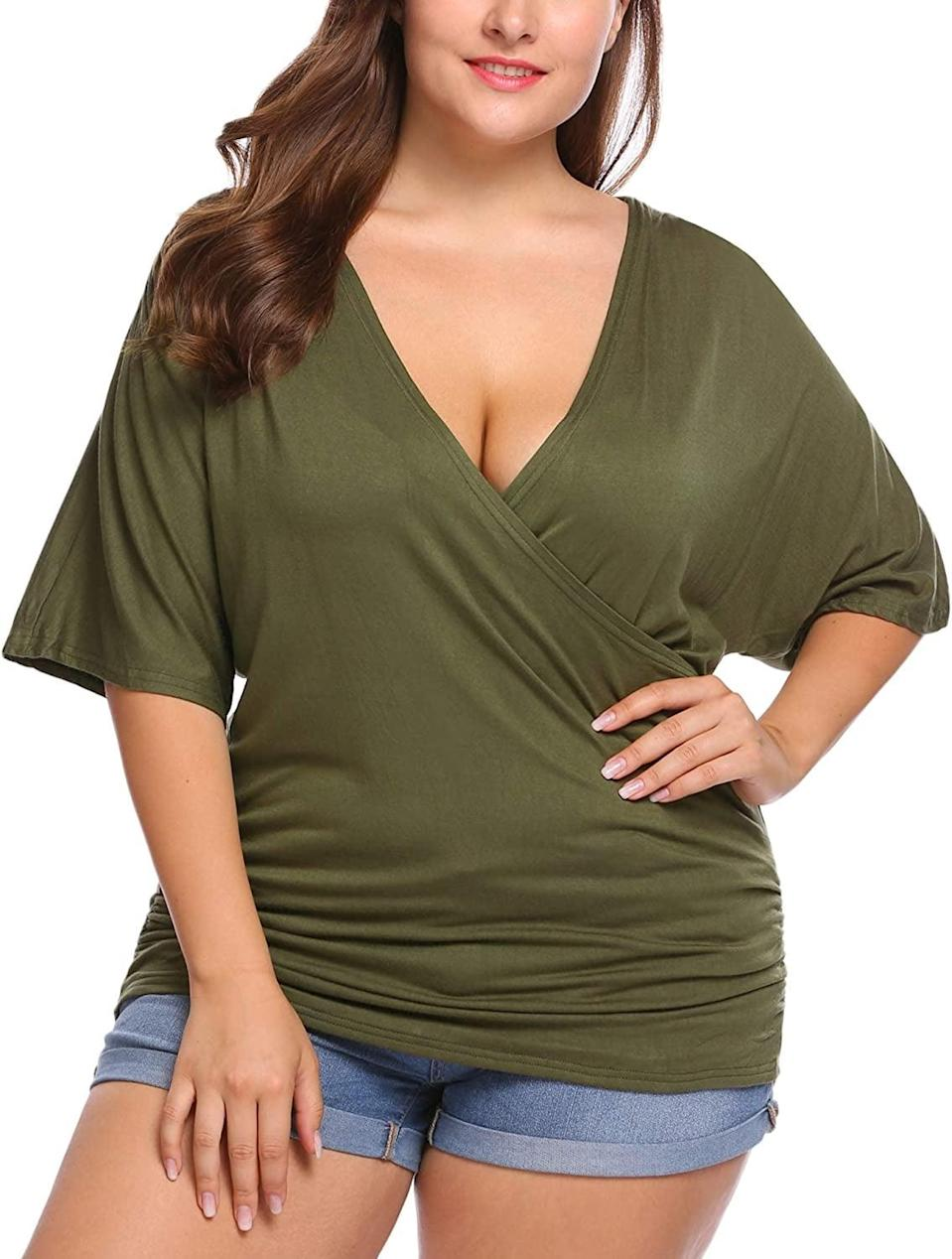 <p>This <span>In'Voland Curve Wrap Top</span> ($27) is so versatile.</p>