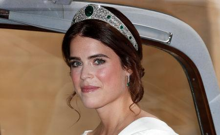 Princess Eugenie of York arrives for her marriage to Jack Brooksbank at St George's Chapel, Windsor Castle, near London, Britain October 12, 2018. Alastair Grant/Pool via REUTERS