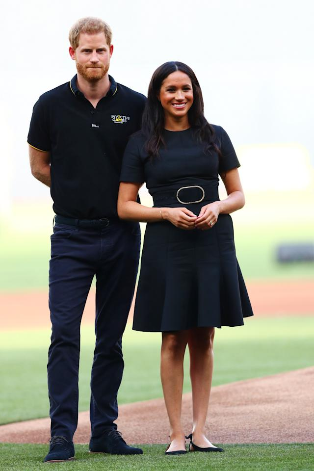 The Duchess of Sussex made a surprise appearance at London Stadium for a baseball match in a Stella McCartney dress. To finish the heatwave-ready ensemble, she chose her go-to £581 Aquazzura Deneuve flats and $395 (approximately £311) turquoise stud earrings by designer Jennifer Meyer. [Photo: Getty]