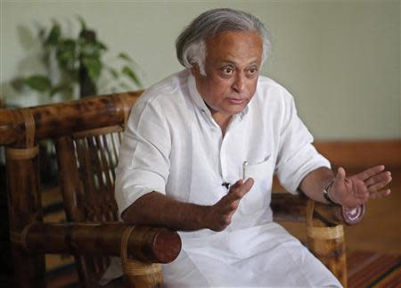 India's Rural Development Minister Jairam Ramesh speaks during an interview with Reuters at his office in New Delhi